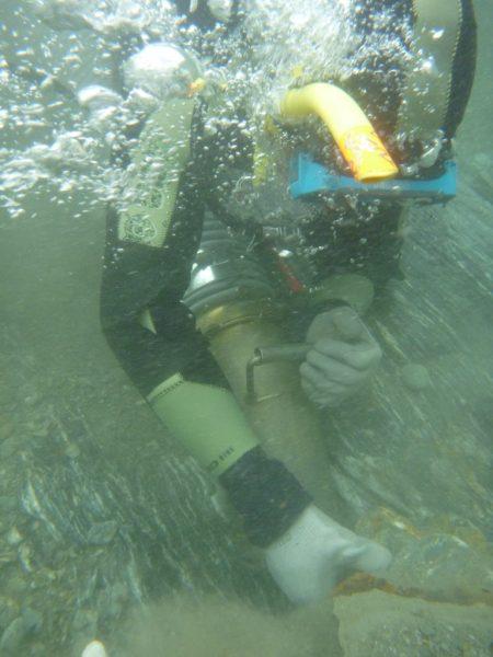 Gold Dredging underwater